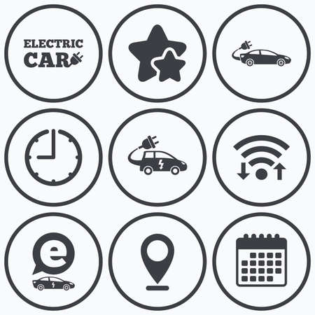electric vehicles: Clock, wifi and stars icons. Electric car icons. Sedan and Hatchback transport symbols. Eco fuel vehicles signs. Calendar symbol.