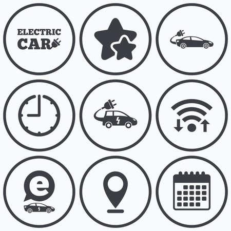 hatchback: Clock, wifi and stars icons. Electric car icons. Sedan and Hatchback transport symbols. Eco fuel vehicles signs. Calendar symbol.