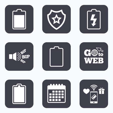 Les paiements mobiles, wifi et calendrier icônes. Charge de la batterie icônes. signes d'électricité symboles. niveaux de charge: plein, vide. Aller au symbole web. Vecteurs