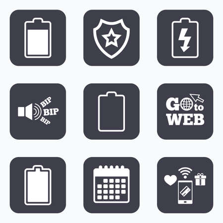 stored: Mobile payments, wifi and calendar icons. Battery charging icons. Electricity signs symbols. Charge levels: full, empty. Go to web symbol.