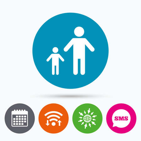 family with one child: Wifi, Sms and calendar icons. One-parent family with one child sign icon. Father with son symbol. Go to web globe. Illustration