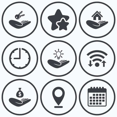patent key: Clock, wifi and stars icons. Helping hands icons. Financial money savings insurance symbol. Home house or real estate and lamp, key signs. Calendar symbol. Illustration