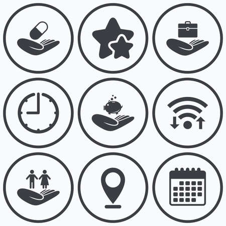 best shelter: Clock, wifi and stars icons. Helping hands icons. Protection and insurance symbols. Financial money savings, health medical insurance. Human couple life sign. Calendar symbol.