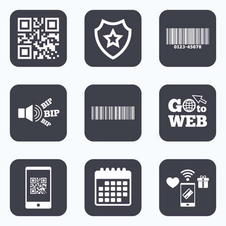 barcode scan: Mobile payments, wifi and calendar icons. Bar and Qr code icons. Scan barcode in smartphone symbols. Go to web symbol.