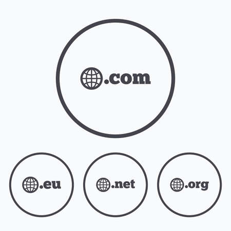 dns: Top-level internet domain icons. Com, Eu, Net and Org symbols with globe. Unique DNS names. Icons in circles.