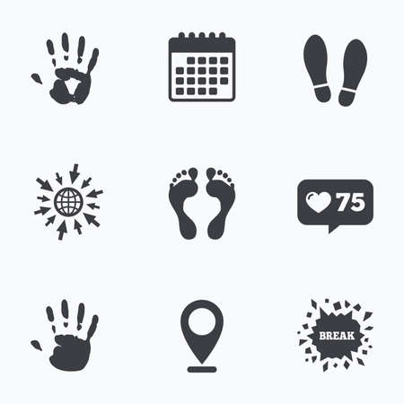 do not enter sign: Calendar, like counter and go to web icons. Hand and foot print icons. Imprint shoes and barefoot symbols. Stop do not enter sign. Location pointer. Illustration