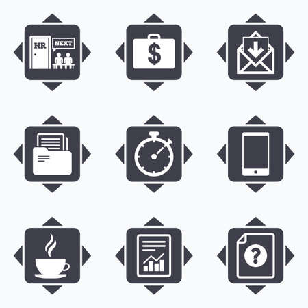 office buttons: Icons with direction arrows. Office, documents and business icons. Accounting, human resources and phone signs. Mail, salary and statistics symbols. Square buttons.