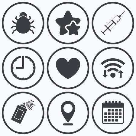 acarus: Clock, wifi and stars icons. Bug and vaccine syringe injection icons. Heart and spray can sign symbols. Calendar symbol. Illustration