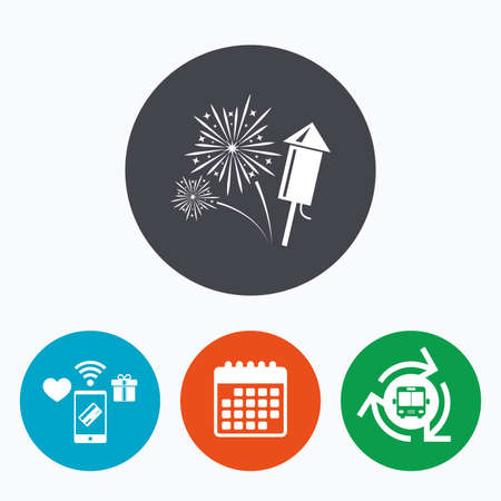 pyrotechnic: Fireworks with rocket sign icon. Explosive pyrotechnic symbol. Mobile payments, calendar and wifi icons. Bus shuttle.