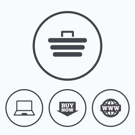 ultrabook: Online shopping icons. Notebook pc, shopping cart, buy now arrow and internet signs. WWW globe symbol. Icons in circles.