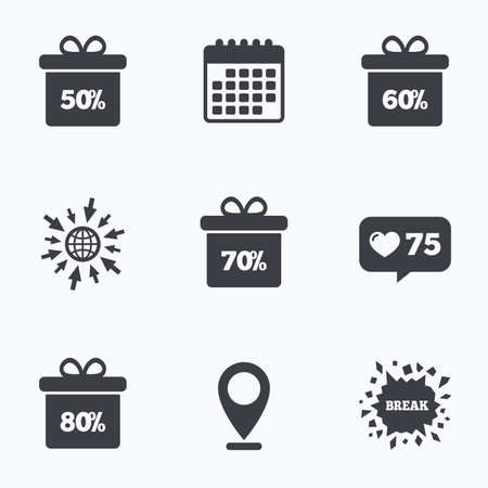 60 70: Calendar, like counter and go to web icons. Sale gift box tag icons. Discount special offer symbols. 50%, 60%, 70% and 80% percent discount signs. Location pointer.