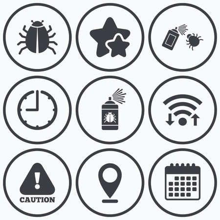 disinfection: Clock, wifi and stars icons. Bug disinfection icons. Caution attention symbol. Insect fumigation spray sign. Calendar symbol. Illustration