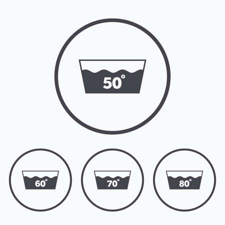 washhouse: Wash icons. Machine washable at 50, 60, 70 and 80 degrees symbols. Laundry washhouse signs. Icons in circles.