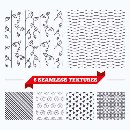 texturing: Diagonal lines, waves and geometry design. Sprout leaf lines texture. Stripped floral seamless pattern. Modern repeating stylish texture. Material patterns.
