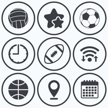 american downloads: Clock, wifi and stars icons. Sport balls icons. Volleyball, Basketball, Soccer and American football signs. Team sport games. Calendar symbol.