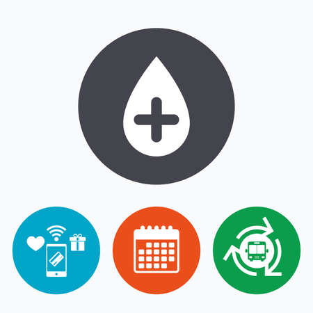 Water drop with plus sign icon. Softens water symbol. Mobile payments, calendar and wifi icons. Bus shuttle.