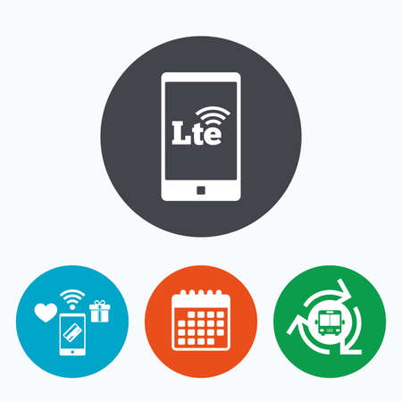 wireless communication: 4G LTE sign in smartphone icon. Long-Term evolution sign. Wireless communication technology symbol. Mobile payments, calendar and wifi icons. Bus shuttle.