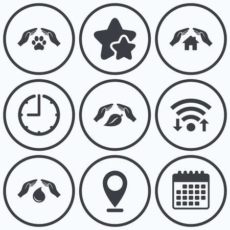 best shelter: Clock, wifi and stars icons. Hands insurance icons. Shelter for pets dogs symbol. Save water drop symbol. House property insurance sign. Calendar symbol.