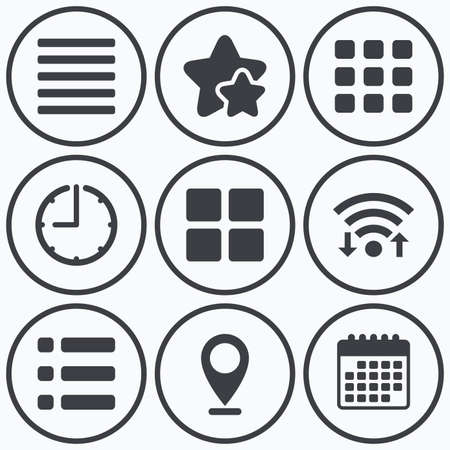 thumbnails: Clock, wifi and stars icons. List menu icons. Content view options symbols. Thumbnails grid or Gallery view. Calendar symbol. Illustration