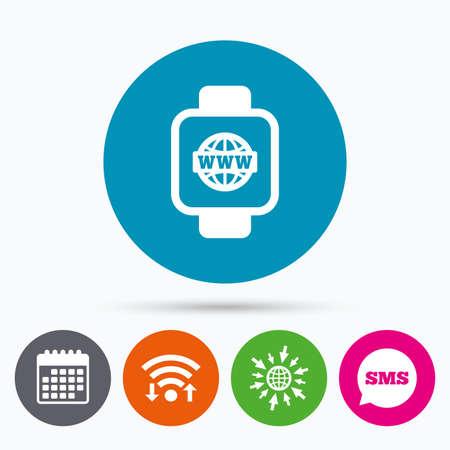 www arm: Wifi, Sms and calendar icons. Smart watch sign icon. Wrist digital watch. Globe internet symbol. Go to web globe.