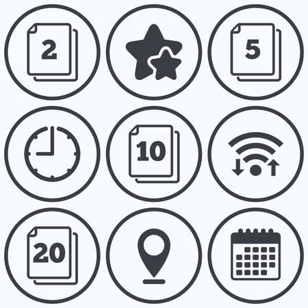 quantity: Clock, wifi and stars icons. In pack sheets icons. Quantity per package symbols. 2, 5, 10 and 20 paper units in the pack signs. Calendar symbol.