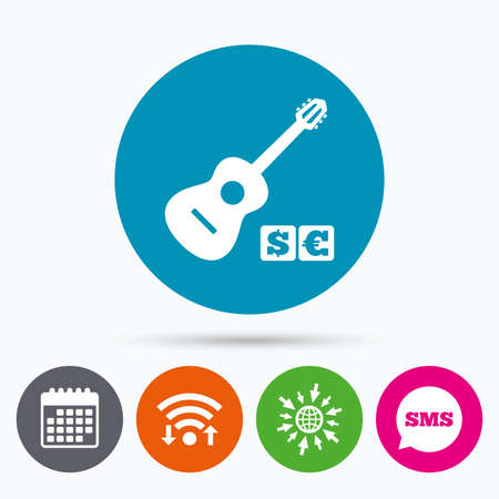 Wifi, Sms and calendar icons. Acoustic guitar sign icon. Paid music symbol. Go to web globe.