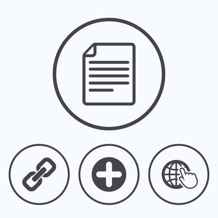 folded hand: Plus add circle and hyperlink chain icons. Document file and globe with hand pointer sign symbols. Icons in circles.