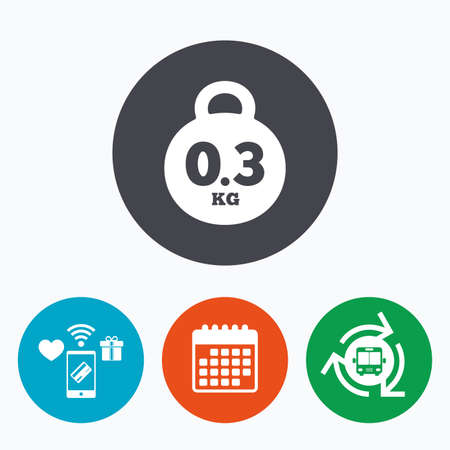 03: Weight sign icon. 0.3 kilogram (kg). Envelope mail weight. Mobile payments, calendar and wifi icons. Bus shuttle.