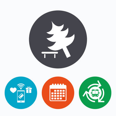 break down: Falling tree sign icon. Caution break down christmas tree symbol. Mobile payments, calendar and wifi icons. Bus shuttle.