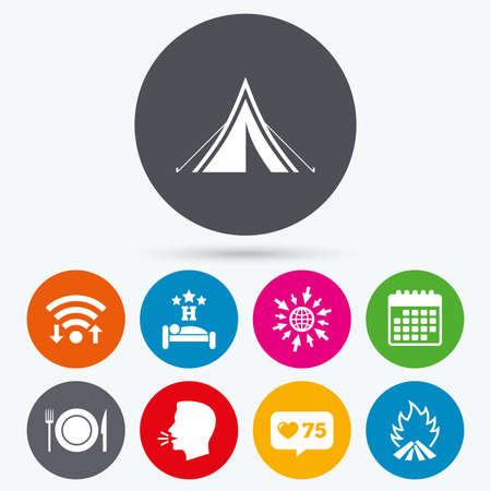 breakfast in bed: Wifi, like counter and calendar icons. Food, sleep, camping tent and fire icons. Knife, fork and dish. Hotel or bed and breakfast. Road signs. Human talk, go to web.