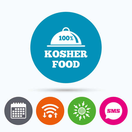 jewish food: Wifi, Sms and calendar icons. 100% Kosher food product sign icon. Natural Jewish food with platter serving symbol. Go to web globe.