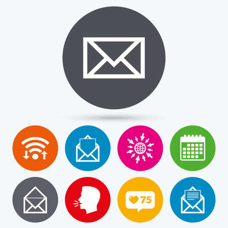 webmail: Wifi, like counter and calendar icons. Mail envelope icons. Message document symbols. Post office letter signs. Human talk, go to web. Illustration