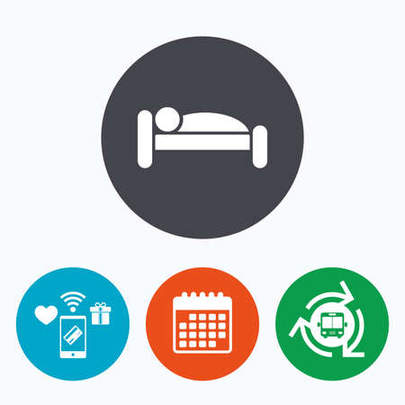 sleeper: Human in bed sign icon. Travel rest place. Sleeper symbol. Mobile payments, calendar and wifi icons. Bus shuttle.