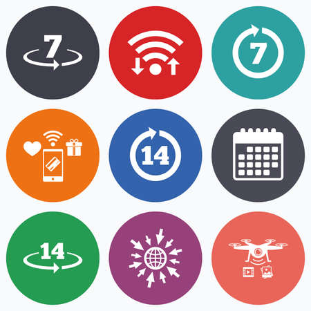 14: Wifi, mobile payments and drones icons. Return of goods within 7 or 14 days icons. Warranty 2 weeks exchange symbols. Calendar symbol.