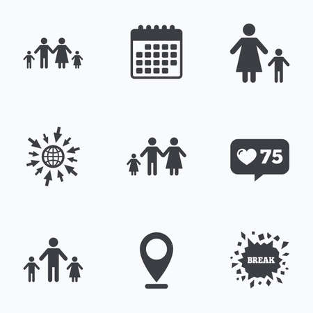 family with two children: Calendar, like counter and go to web icons. Family with two children icon. Parents and kids symbols. One-parent family signs. Mother and father divorce. Location pointer.