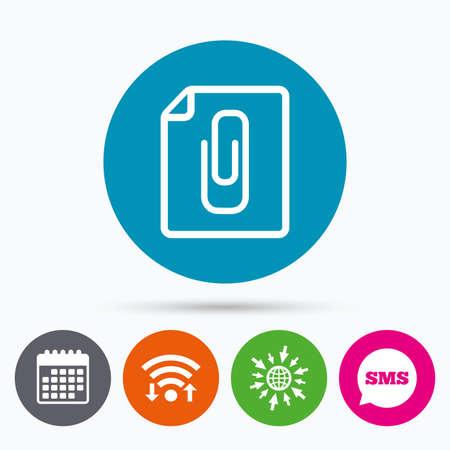 Wifi, Sms and calendar icons. File annex icon. Paper clip symbol. Attach symbol. Go to web globe. Illustration
