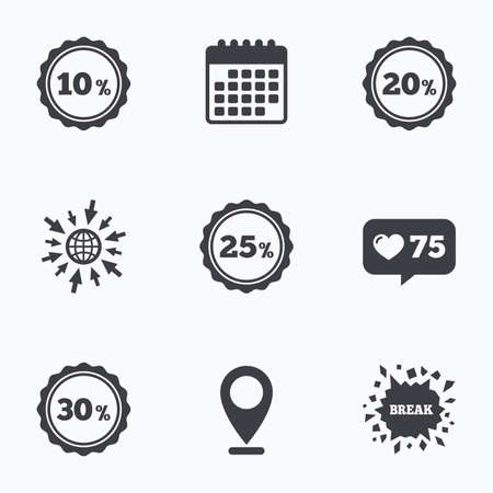 20 to 25: Calendar, like counter and go to web icons. Sale discount icons. Special offer stamp price signs. 10, 20, 25 and 30 percent off reduction symbols. Location pointer.