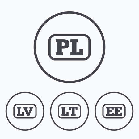 lt: Language icons. PL, LV, LT and EE translation symbols. Poland, Latvia, Lithuania and Estonia languages. Icons in circles.