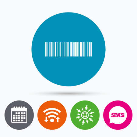 coded: Wifi, Sms and calendar icons. Bar code sign icon. Scan code symbol. Coded word - success! Go to web globe.