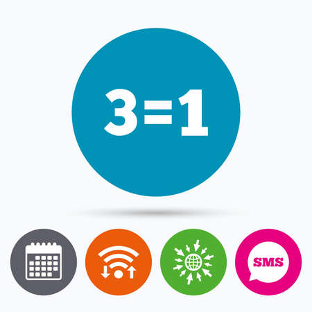 equals: Wifi, Sms and calendar icons. Three for one sign icon. Take three pay for one sale button. 3 equals 1. Go to web globe. Illustration