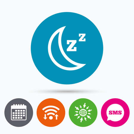 zzz: Wifi, Sms and calendar icons. Sleep sign icon. Moon with zzz button. Standby. Go to web globe.
