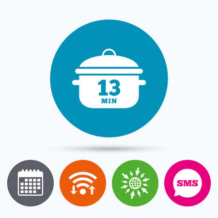 casserole: Wifi, Sms and calendar icons. Boil 13 minutes. Cooking pan sign icon. Stew food symbol. Go to web globe.