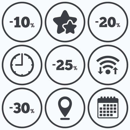 20 to 25: Clock, wifi and stars icons. Sale discount icons. Special offer price signs. 10, 20, 25 and 30 percent off reduction symbols. Calendar symbol. Illustration