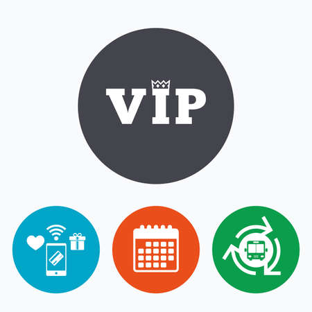 very important person sign: Vip sign icon. Membership symbol. Very important person. Mobile payments, calendar and wifi icons. Bus shuttle.