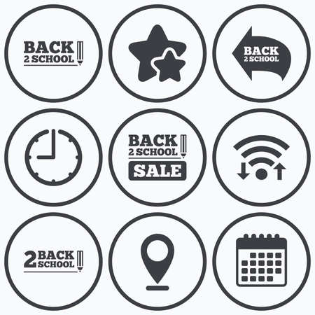 special education: Clock, wifi and stars icons. Back to school sale icons. Studies after the holidays signs. Pencil symbol. Calendar symbol.