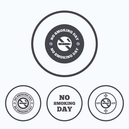quit: No smoking day icons. Against cigarettes signs. Quit or stop smoking symbols. Icons in circles. Illustration