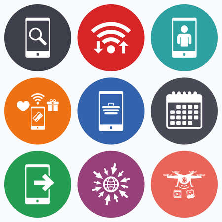 video call: Wifi, mobile payments and drones icons. Phone icons. Smartphone video call sign. Search, online shopping symbols. Outcoming call. Calendar symbol. Illustration