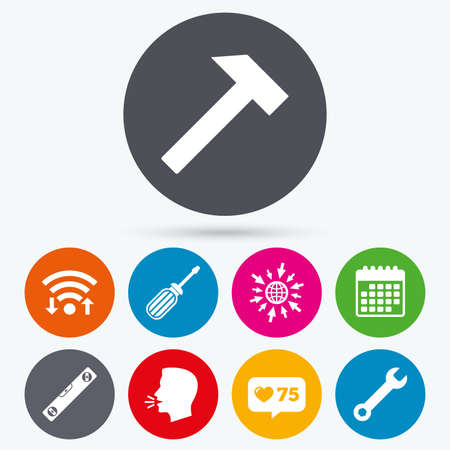 bubble level: Wifi, like counter and calendar icons. Screwdriver and wrench key tool icons. Bubble level and hammer sign symbols. Human talk, go to web.