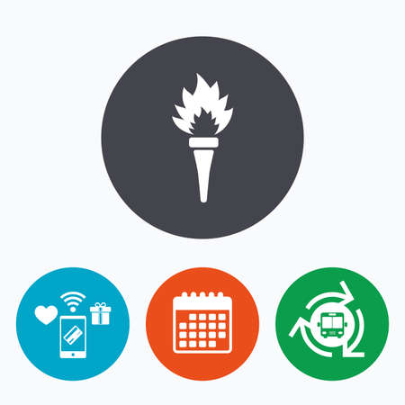 olympic game: Torch flame sign icon. Fire flaming symbol. Mobile payments, calendar and wifi icons. Bus shuttle.