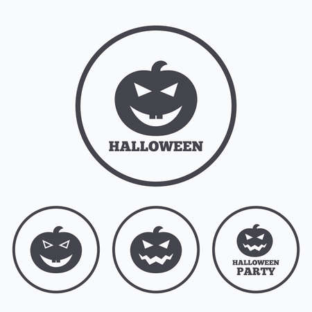 hallows: Halloween pumpkin icons. Halloween party sign symbol. All Hallows Day celebration. Icons in circles.